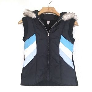 Free People Vest with Faux Fur Trimmed Hood